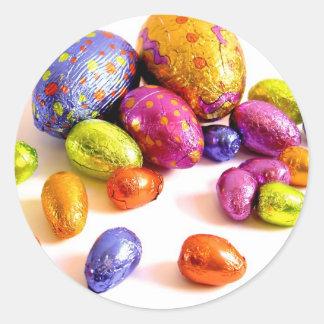 Huevos de Pascua del chocolate para los días de Pegatinas Redondas