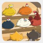 Huevos de Pascua del gallinero de pollo Pegatina Cuadradas Personalizada