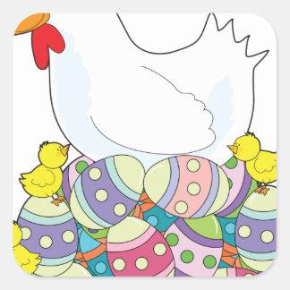 Huevos de Pascua del pollo Pegatina Cuadrada