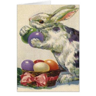 Huevos de Pascua del vintage y conejito de pascua Tarjeta De Felicitación