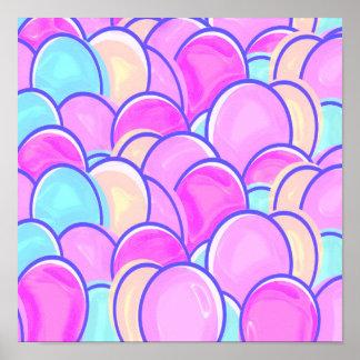 huevos de Pascua en colores pastel Póster