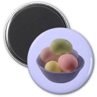 Huevos de Pascua en un cuenco Imán Redondo 5 Cm