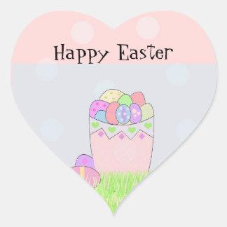 Huevos de Pascua en una cesta Calcomania De Corazon
