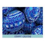 Huevos de Pascua felices azules Postal