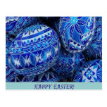 Huevos de Pascua felices azules Postales