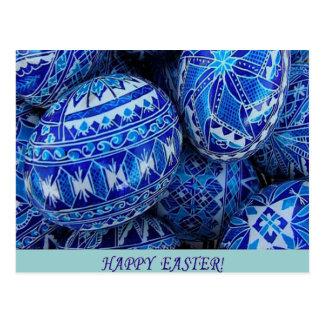 Huevos de Pascua felices azules Tarjetas Postales