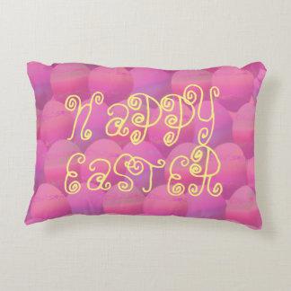 Huevos de Pascua felices del rosa y del amarillo Cojín