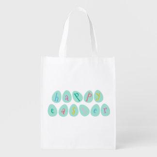 Huevos de Pascua felices en aguamarina Bolsa Para La Compra
