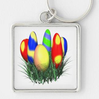 Huevos de Pascua Llavero Cuadrado Plateado