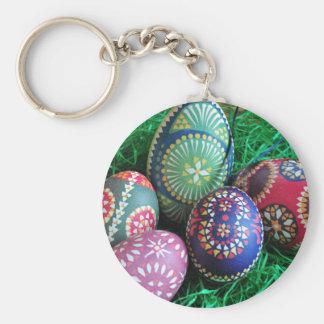 Huevos de Pascua pintados adornados Llavero Redondo Tipo Pin