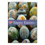 Huevos de Pascua pintados azul Felicitacion