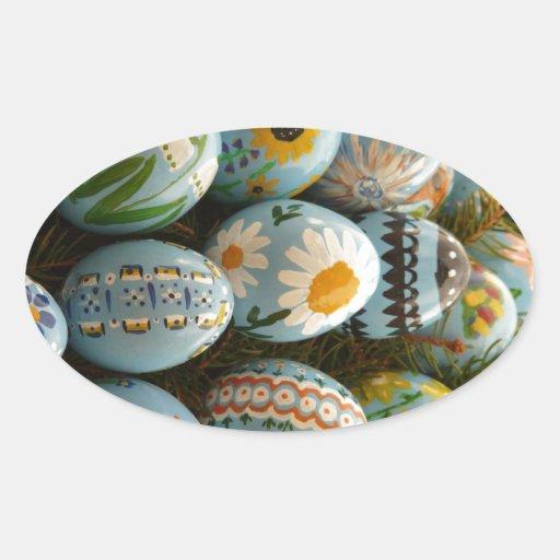 Huevos de Pascua pintados azul Pegatina Ovalada