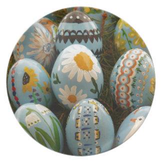 Huevos de Pascua pintados azul Plato Para Fiesta