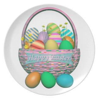 Huevos de Pascua pintados en cesta Plato
