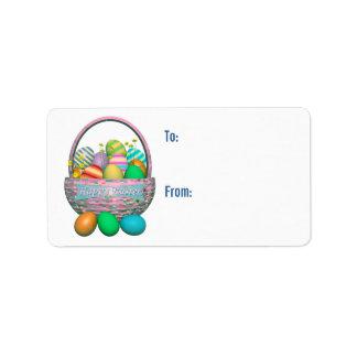 Huevos de Pascua pintados en etiqueta del regalo d Etiquetas De Dirección