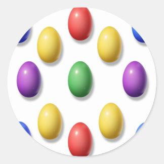 Huevos de Pascua plásticos Pegatina Redonda