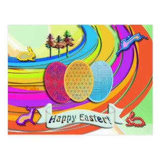 Huevos de Pascua y conejos de conejito coloridos Postal