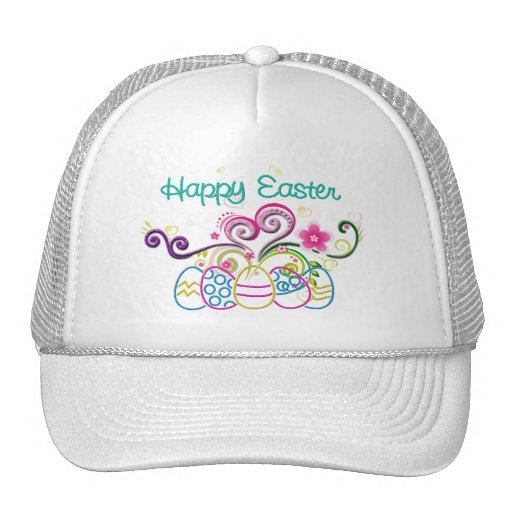 Huevos del brillo de Pascua y floral felices Gorro De Camionero