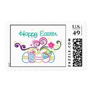 Huevos del brillo de Pascua y floral felices Sellos
