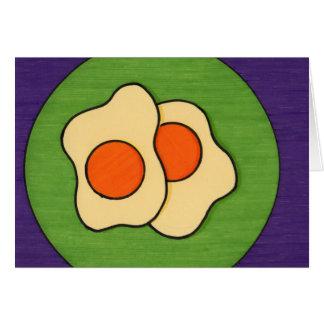 Huevos en una placa tarjeta de felicitación