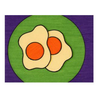 Huevos en una placa tarjeta postal