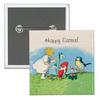 Huevos felices de los duendes de Pascua del vintag Pin Cuadrado