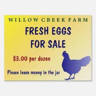 ¡Huevos frescos de la granja para el personalizabl Señal