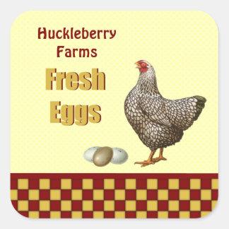 Huevos frescos de la granja pegatina cuadrada