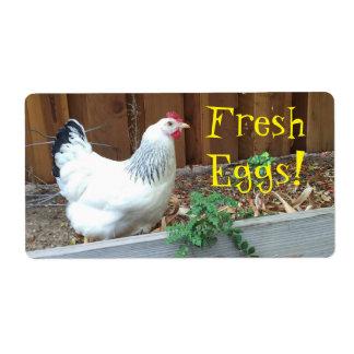 Huevos frescos etiquetas de envío