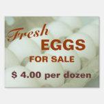Huevos frescos para la muestra de la granja de la