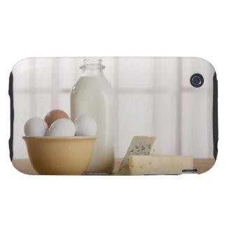 Huevos frescos queso y leche en contador carcasa though para iPhone 3
