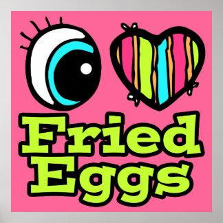Huevos fritos del ojo del amor brillante del póster
