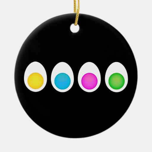 Huevos hervidos adorno navideño redondo de cerámica