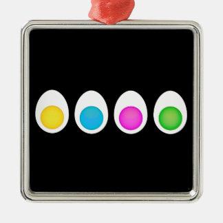 Huevos hervidos adorno cuadrado plateado