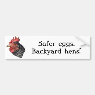 ¡Huevos más seguros, gallinas del patio trasero! - Pegatina Para Auto