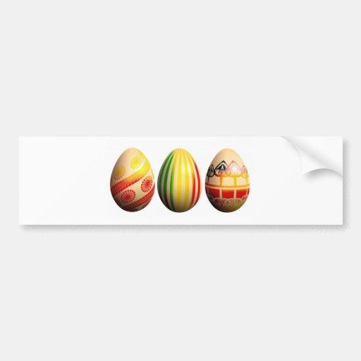 huevos pintados etiqueta de parachoque