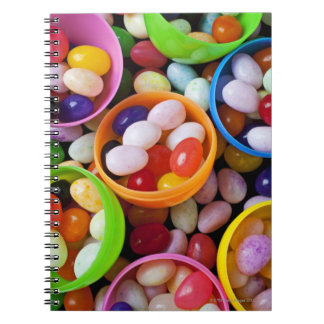 Huevos plásticos llenados de las habas de jalea libro de apuntes