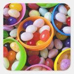 Huevos plásticos llenados de las habas de jalea calcomanía cuadrada