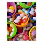 Huevos plásticos llenados de las habas de jalea tarjeta postal