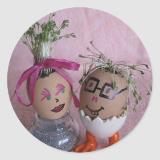 Huevos románticos de los pares de Pascua Eggmen Pegatinas Redondas