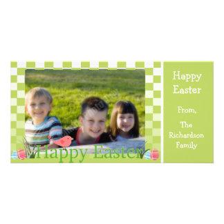 Huevos verdes y blancos de la primavera de los ins tarjetas fotográficas personalizadas