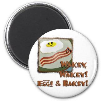 Huevos y Bakey de Wakey Imán Redondo 5 Cm