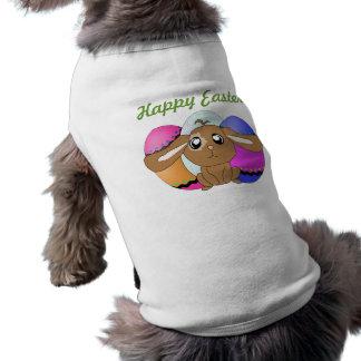 Huevos y camisa del perro del conejito playera sin mangas para perro