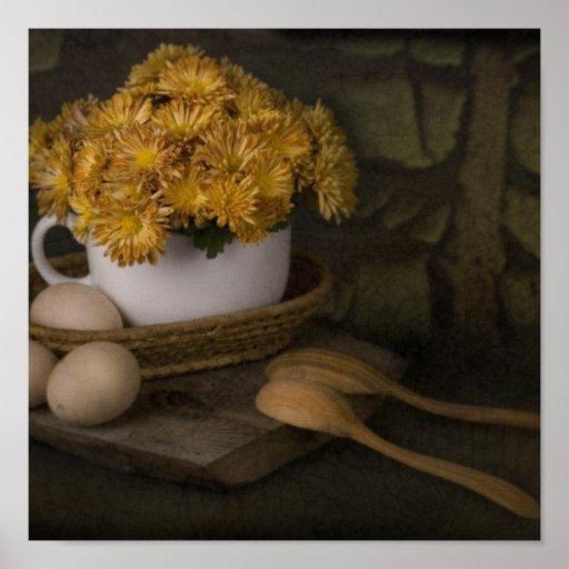 Huevos y cucharas póster