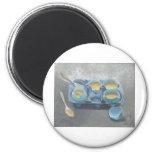 Huevos y natillas azules imanes de nevera