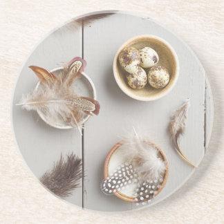 Huevos y plumas posavasos de arenisca
