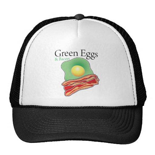 Huevos y tocino verdes gorros bordados