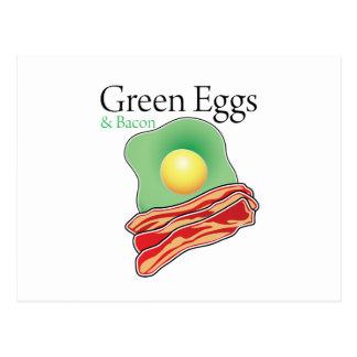 Huevos y tocino verdes postal