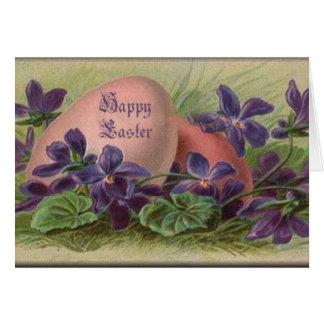 Huevos y violetas de Pascua Tarjeta De Felicitación