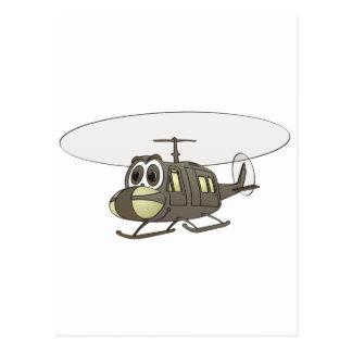 Huey Helicopter Cartoon Postcard